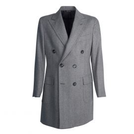 VIRUM NAPOLI Grey Herringbone Double-Breasted Coat