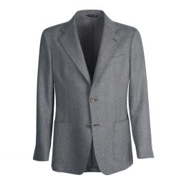 VIRUM NAPOLI Grey Herringbone Single-Breasted Jacket